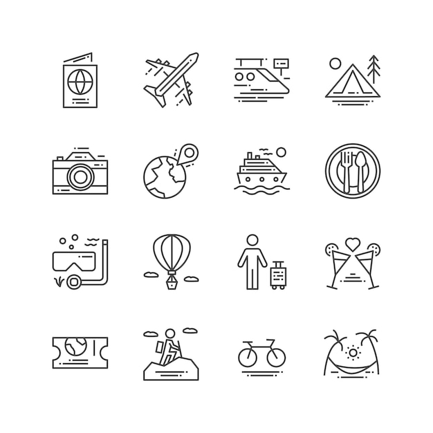 Travel and activities icons Premium Vector