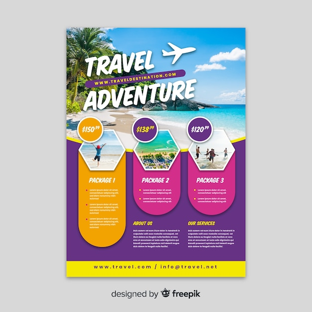 Travel adventure template with photo Free Vector