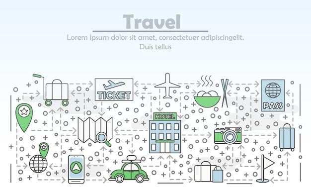 Travel advertising flat line art illustration Premium Vector