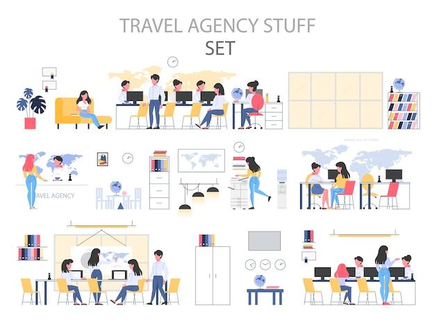 Туристическое агентство строит интерьерные вещи. люди сидят за столом Premium векторы