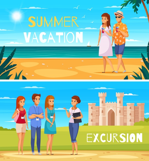 Travel agency cartoon banners Free Vector