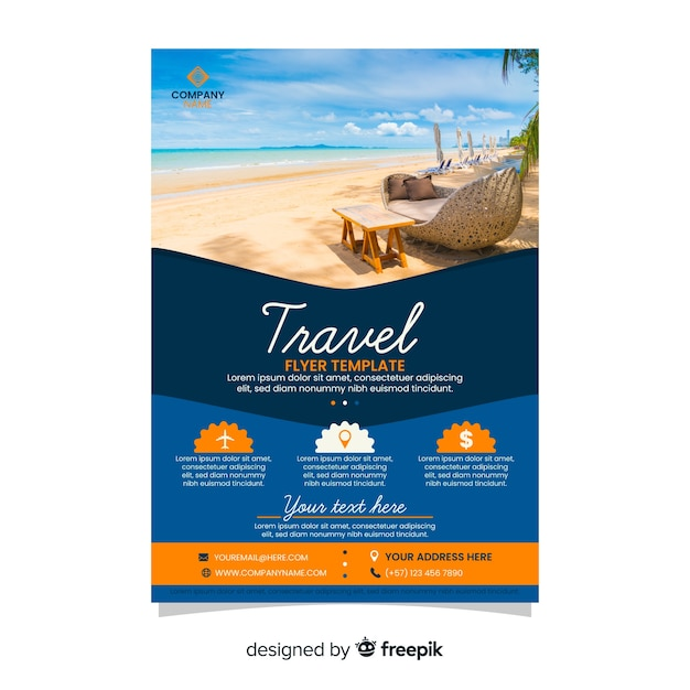 Travel agency flyer template with photo Vector | Free Download