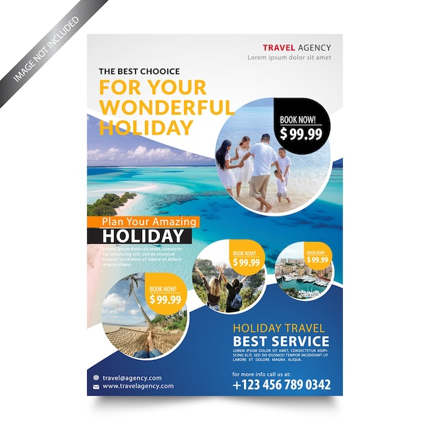 Travel agency holiday flyer template Premium Vector