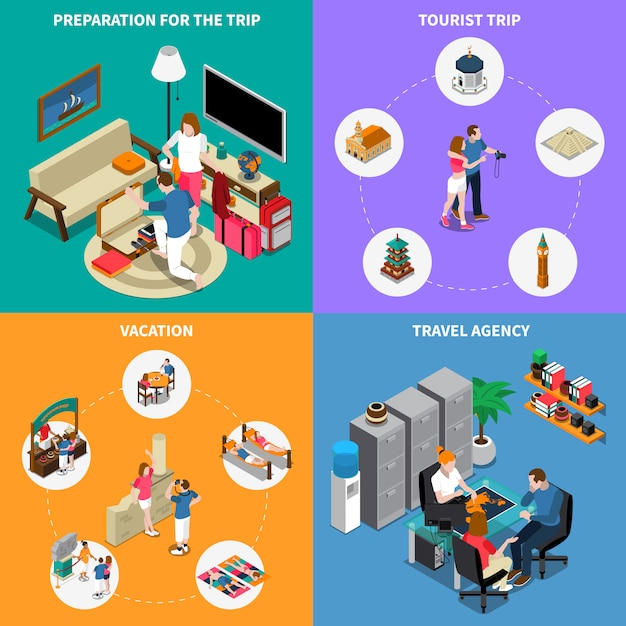 Travel agency illustration concept Free Vector