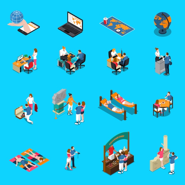 Travel agency isometric icons Free Vector