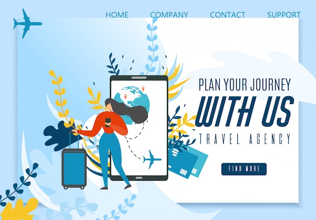 Travel agency landing page Free Vector
