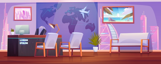 Travel agency office interior with operator desk Free Vector