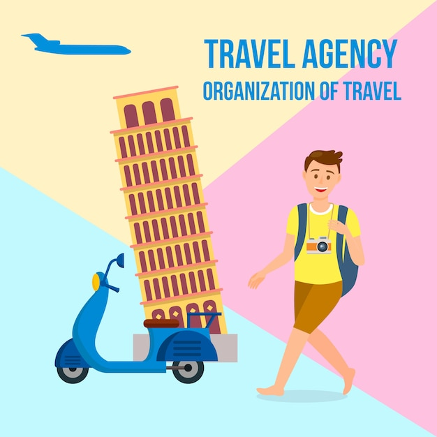 Travel agency square banner with text, lettering. Premium Vector