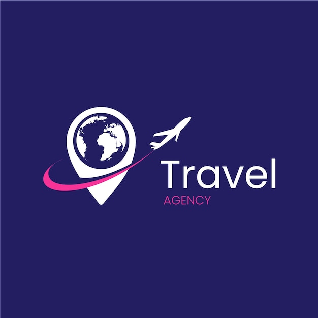 Travel agency with airplane logo design Premium Vector