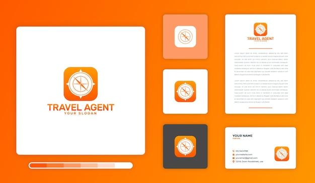 Travel agent logo design template Premium Vector