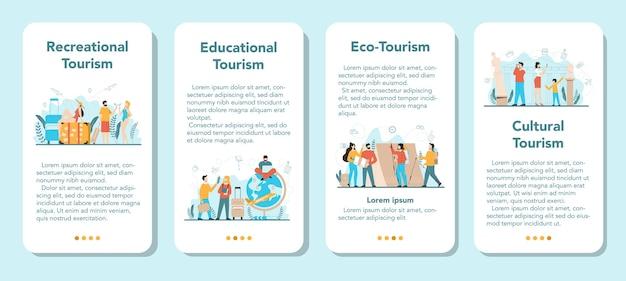Набор баннеров мобильного приложения туристического агента. офисный работник, продающий туристические, круизные, авиа или ж / д билеты. агентство по организации отдыха, бронирование гостиниц. Premium векторы