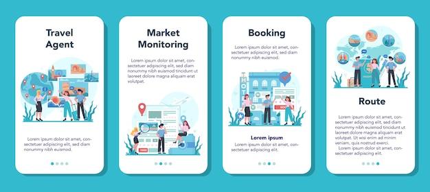 Набор баннеров мобильного приложения туристического агента. офисный работник продает тур Premium векторы