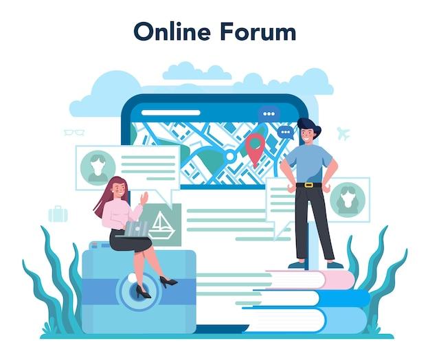 Онлайн-сервис или платформа турагента. офисный работник, продающий туристические, круизные, авиа или ж / д билеты. интернет-форум. Premium векторы