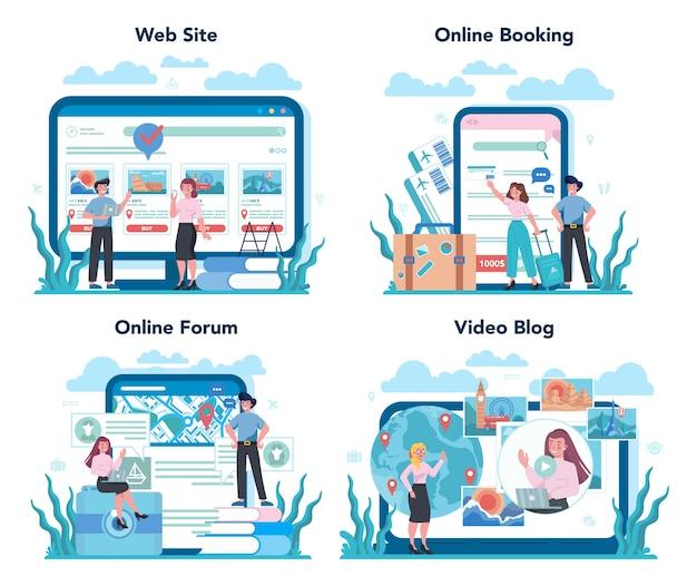 Интернет-сервис или платформа туристического агента. офисный работник продает тур Premium векторы