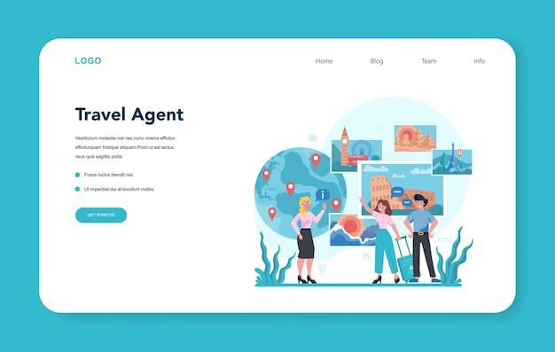 Веб-баннер или целевая страница турагента. офисный работник, продающий туристические, круизные, авиа или ж / д билеты. агентство по организации отдыха, бронирование гостиниц. Premium векторы