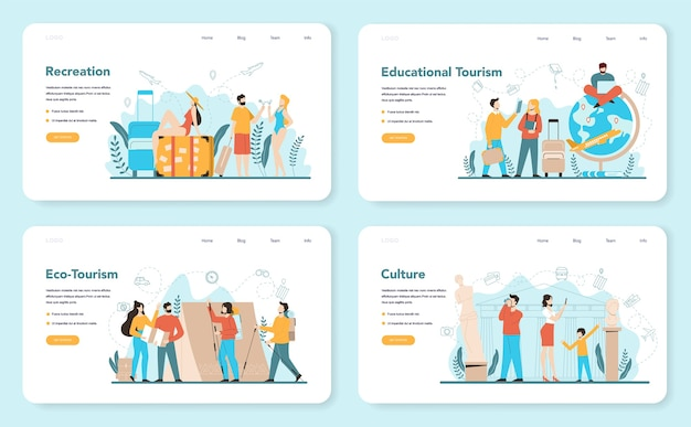 Веб-баннер или целевая страница туристического агента. офисный работник, продающий туристические, круизные, авиа или ж / д билеты. агентство по организации отдыха, бронирование гостиниц. Premium векторы