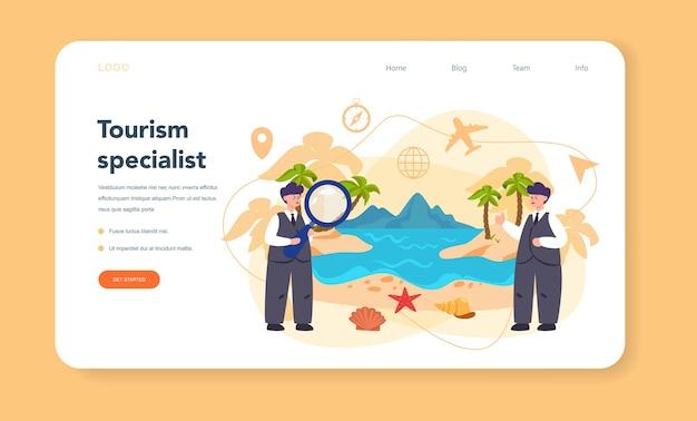 Веб-баннер или целевая страница турагента. Premium векторы