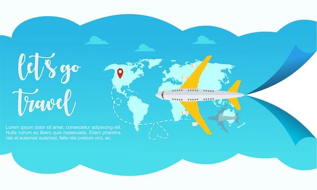 Travel airplane world template Premium Vector
