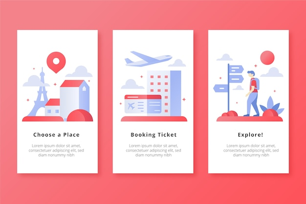 Travel all places mobile app screens Free Vector