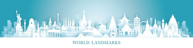 Путешествия и туристические достопримечательности Premium векторы