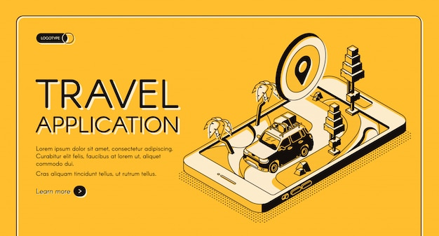 Travel application isometric vector web banner. Free Vector
