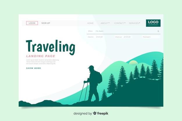 Целевая страница кругосветного путешествия Бесплатные векторы