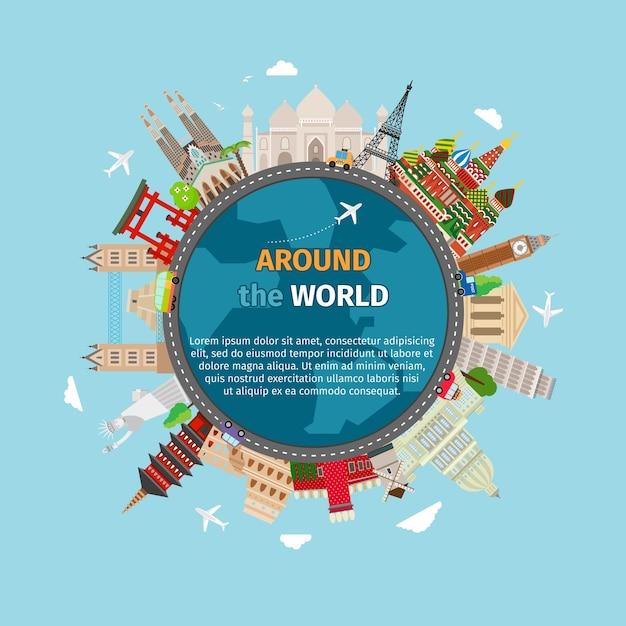 世界中を旅するポストカード。観光と休暇、地球の世界、世界の旅。 無料ベクター