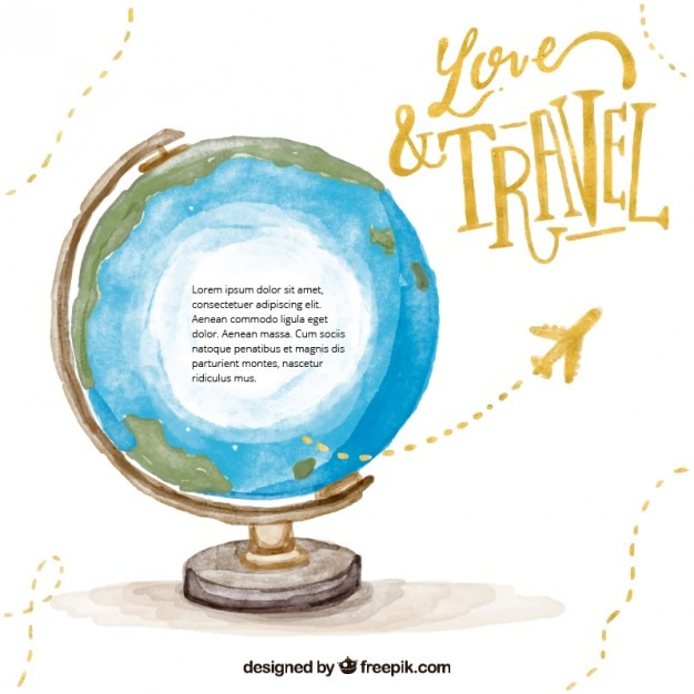 Travel Around The World Watercolor Background Free Vector