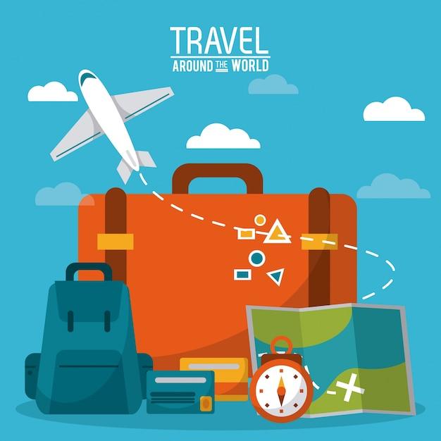 Travel around the world Premium Vector