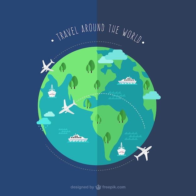 Travel around the world vector free download for All around the world cruise