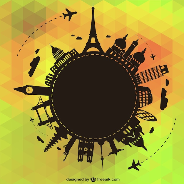 Travel around the world background with black monuments silhouettes Free Vector