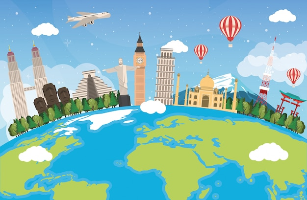 Travel around the world design with earth planet Premium Vector