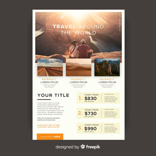 Travel around the world flyer template with photo Free Vector