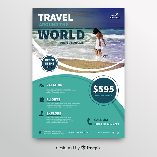 Travel around the world flyer template Free Vector