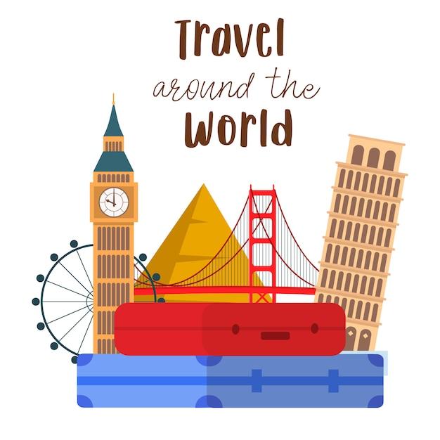 Travel around the world lettering vector postcard. Premium Vector