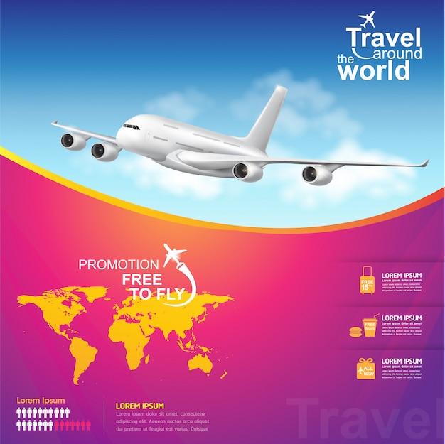 Travel around the world poster Premium Vector