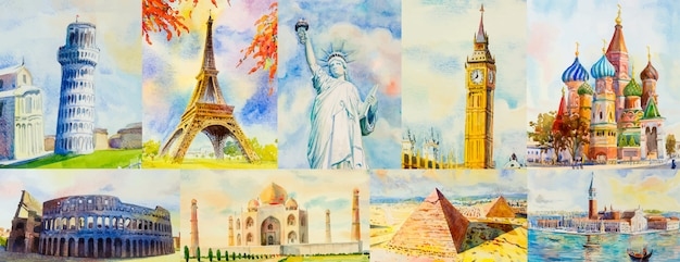 Travel around the world and sights. Premium Vector