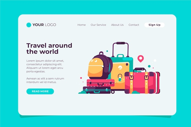 Travel around the world tourism landing page Free Vector