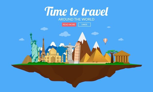 Travel to the around world, tourism. landmarks on the globe. vector illustration. Premium Vector