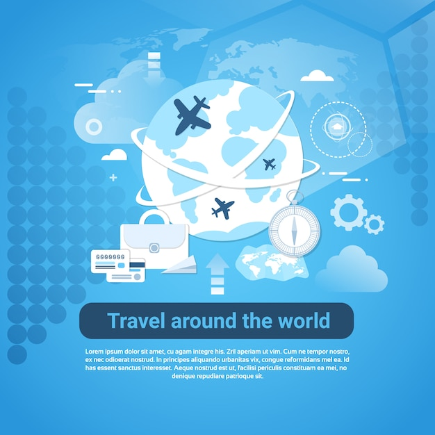Travel around world web banner with copy space on blue background Premium Vector