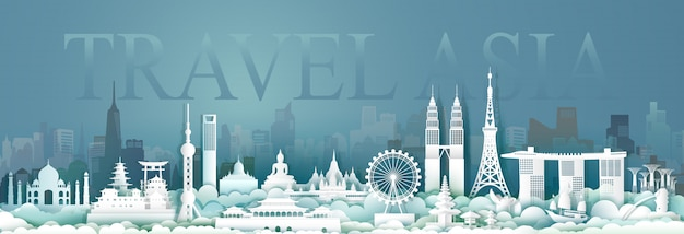 Travel asean architecture culture in capital city. Premium Vector