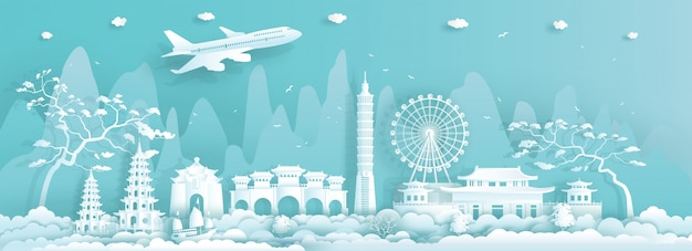 Travel asia landmarks city of taiwan taipei on blue background. Premium Vector