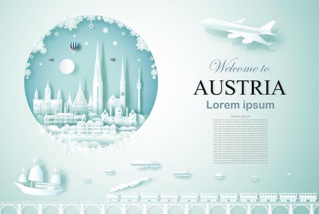 Путешествие по австрии памятник древней и замковой архитектуры с новым годом Premium векторы