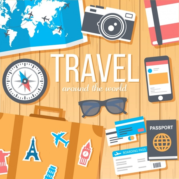 Travel background design Free Vector