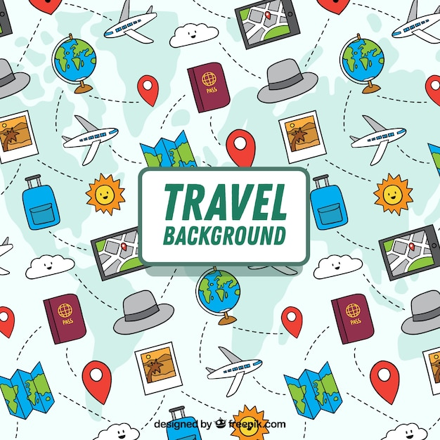 Travel background in hand drawn style Free Vector