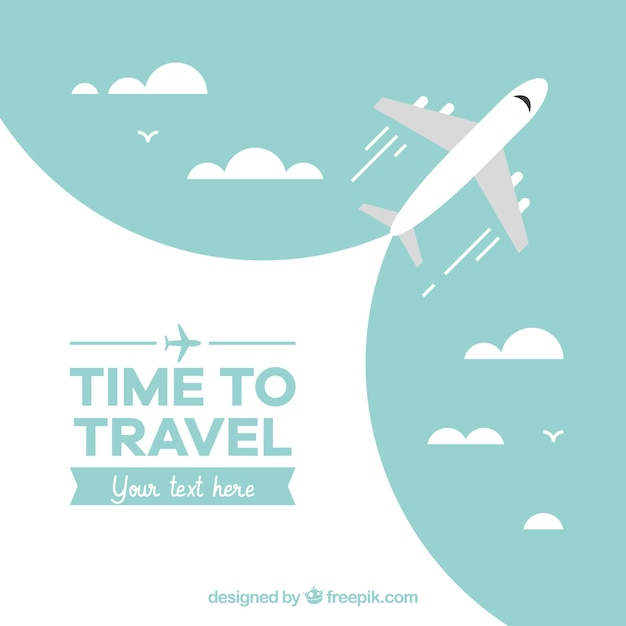 Travel background with airplane design Free Vector