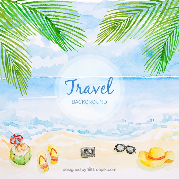 Travel background with beach in watercolor style Free Vector
