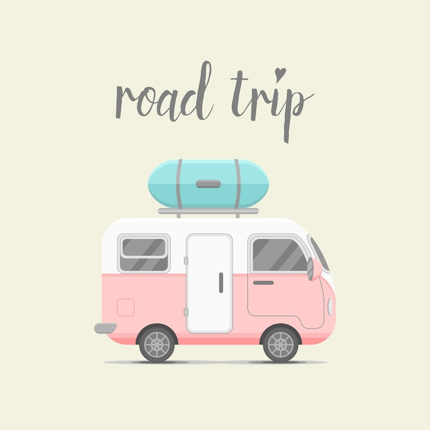 Travel background with caravan trailer Premium Vector
