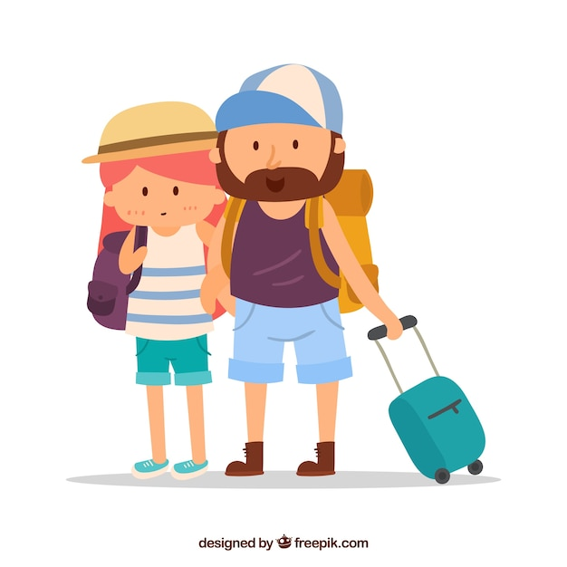 Travel background with couple Free Vector