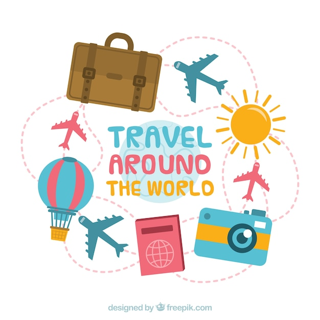Travel background with different elements in flat style Free Vector